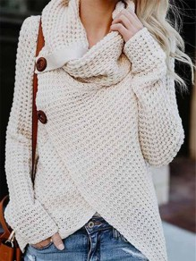 Rice White Irregular Buttons Round Neck Knit Cardigans Sweater