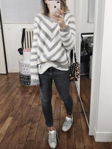 Grey Striped Round Neck Long Sleeve Pullover Sweater