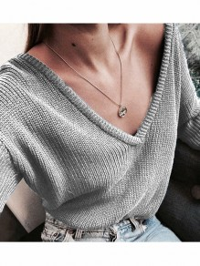 Light Grey Deep V-neck Multifunction One Off Shoulder Slouchy Sweater Pullover Sweater