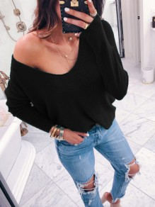 Black V-neck Long Sleeve Casual Pullover Sweater