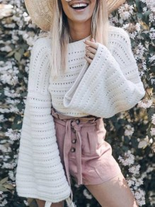 White Cut Out Round Neck Fashion Pullovers Sweater