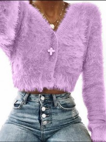 Purple Single Breasted Casual Cardigan Sweater