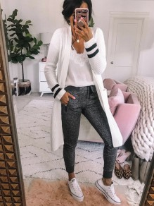 White Striped Print Long Sleeve Casual Cardigan Sweater