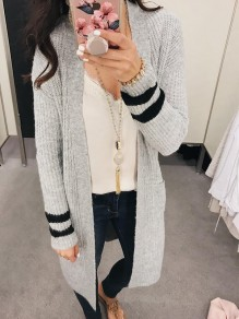 Grey Striped Print Long Sleeve Casual Cardigan Sweater