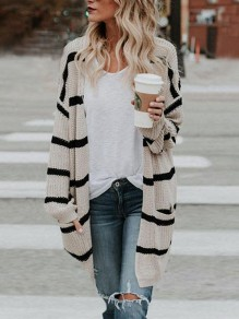 Apricot Striped Print Pockets Long Sleeve Cardigan Sweater