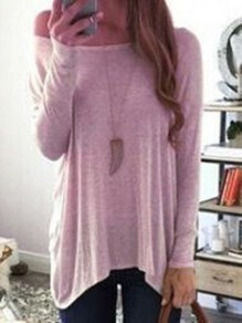 Pink One Off Shoulder Draped Irregular Casual Slouchy Pullover Sweater