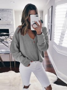 Grey Irregular Collarless V-neck Long Sleeve Pullover Sweater