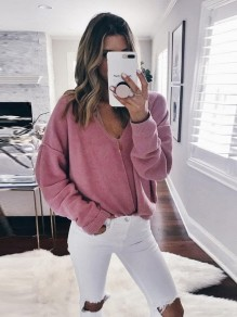 Pink Irregular Collarless V-neck Long Sleeve Pullover Sweater