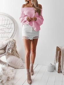 Pink Off Shoulder Bandeau Fashion Pullover Sweater