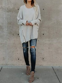 Grey Zipper Side Slit Fashion Pullover Sweater