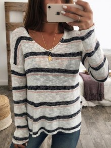White Striped Print V-neck Long Sleeve Casual Pullover Sweater