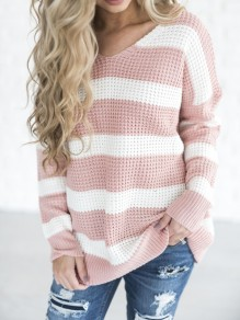 Pink Striped V-neck Cute Pullover Sweater