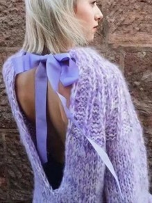 Purple Patchwork Tie Back Ribbons Round Neck Casual Sweater