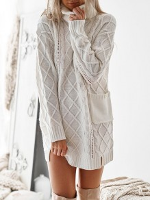 White Cut Out Pockets Oversize High Neck Casual Pullover Sweater Knitwear Jumper Dress