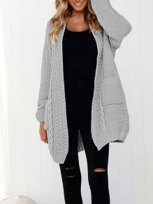 Grey Pockets V-neck Casual Long Knit Cardigan Sweater