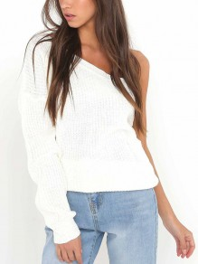 White Knit Asymmetric Shoulder Round Neck Long Sleeve Casual Sweater