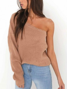 Khaki Knit Asymmetric Shoulder Round Neck Long Sleeve Casual Sweater
