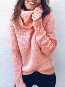 Pink High Neck Long Sleeve Casual Sweater
