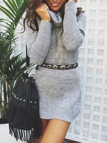 Light Grey High Neck Long Sleeve Casual Sweater