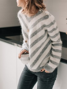 Grey Striped Round Neck Long Sleeve Casual Sweater