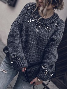 Grey Patchwork Sequin Round Neck Long Sleeve Casual Sweater