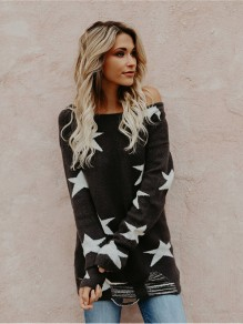 Black Star Print Off Shoulder Long Sleeve Casual Slouchy Pullover Sweater