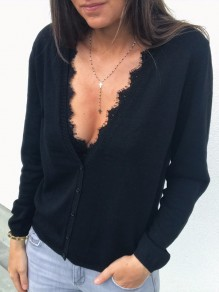Black Lace Single Breasted Plunging Neckline Long Sleeve Casual Cardigan
