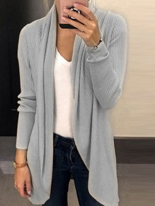 Grey Irregular Long Sleeve Sweet Going out Office Worker/Daily Casual Cardigan