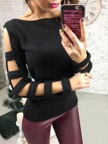 Black Cut Out Long Sleeve Round Neck Fashion Pullover Sweater