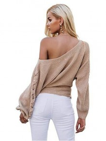 Khaki Patchwork Drawstring Round Neck Long Sleeve Casual Sweater