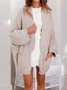 Beige Pockets Collarless Dolman Sleeve Casual Cardigan Sweater
