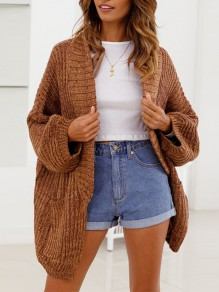 Brown Pockets Collarless Dolman Sleeve Casual Cardigan Sweater