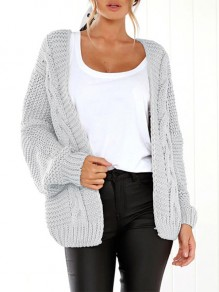 Grey Plain Button Dolman Sleeve Loose Casual Cardigan Sweater