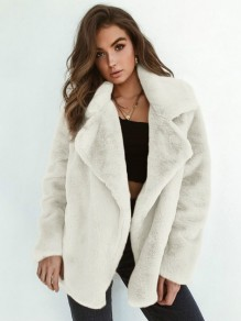 White Faux Fur Turndown Collar Fashion Chic Cardigan Sweater