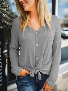 Grey Buttons V-neck Long Sleeve Casual Pullover Sweater