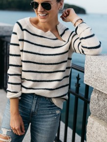White Striped Zipper Round Neck Loose Fashion Pullover Sweater