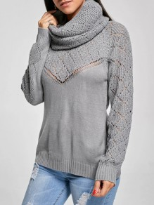 Grey Cut Out High Neck Long Sleeve Casual Sweater