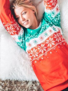 Red Green Snowflake Print Christmas Day Round Neck Long Sleeve Sweet Sweatshirt