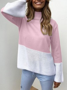 Pink Patchwork High Neck Long Sleeve Fashion Pullover Sweater