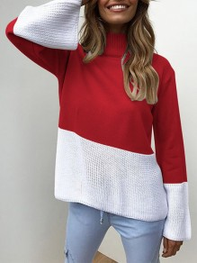 Red Patchwork High Neck Long Sleeve Fashion Pullover Sweater