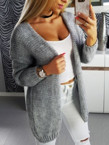 Grey V-neck Long Sleeve Casual Oversize Cardigan Sweater