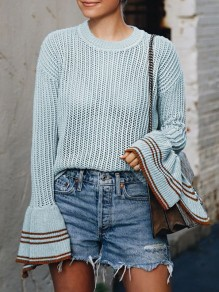 Grey Striped Print Round Neck Flare Sleeve Pullover Sweater