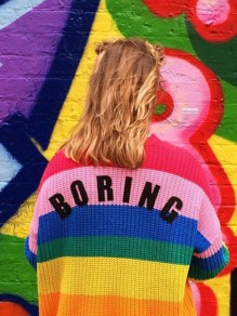 "Red ""BORING"" Print Rainbow Striped Long Sleeve Single Breasted Casual Sweater Rainbow Cardigan"