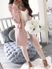 Pink Plain Pockets Pearl Going out Casual Cardigan Sweater