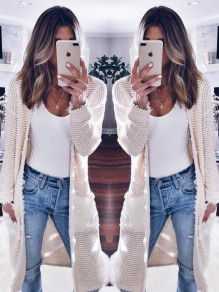 White Pockets Long Sleeve Fashion Cardigan Sweater