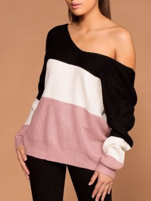 Black Colorful Asymmetric Shoulder Cross Back Fashion Knitwear Jumper Pullover Sweater
