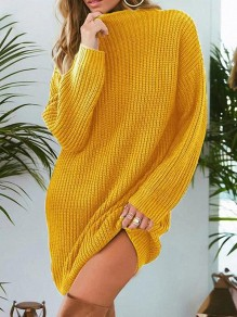 Yellow Round Neck Long Sleeve Sweet Going out Pullover Sweater