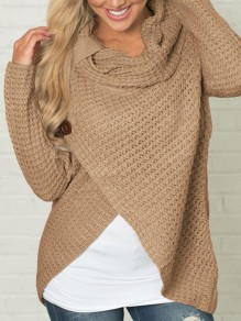 Khaki Irregular Buttons Ruffle Collar Cute Pullover Sweater