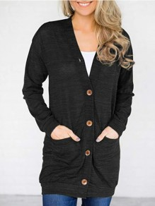 Black Single Breasted Pockets Long Sleeve V-neck Comfy Casual Cardigan Sweater