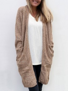 Khaki Pockets V-neck Long Sleeve Oversize Casual Cardigan Sweater